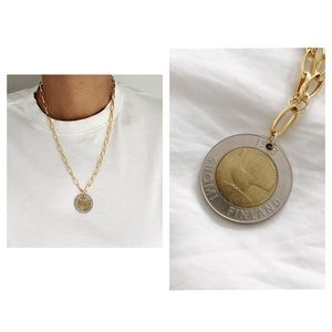 One of a Kind Vintage 1900s Finland Coin  Necklace